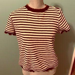 Zara slightly cropped short sleeved sweater